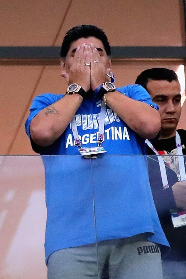 <p>Former Argentina player Diego Maradona looks on before the 2018 FIFA World Cup Russia group D match between Argentina and Croatia at Nizhny Novgorod Stadium on June 21, 2018 in Nizhny Novgorod, Russia. (Photo by Chris Brunskill/Fantasista/Getty Images) </p>