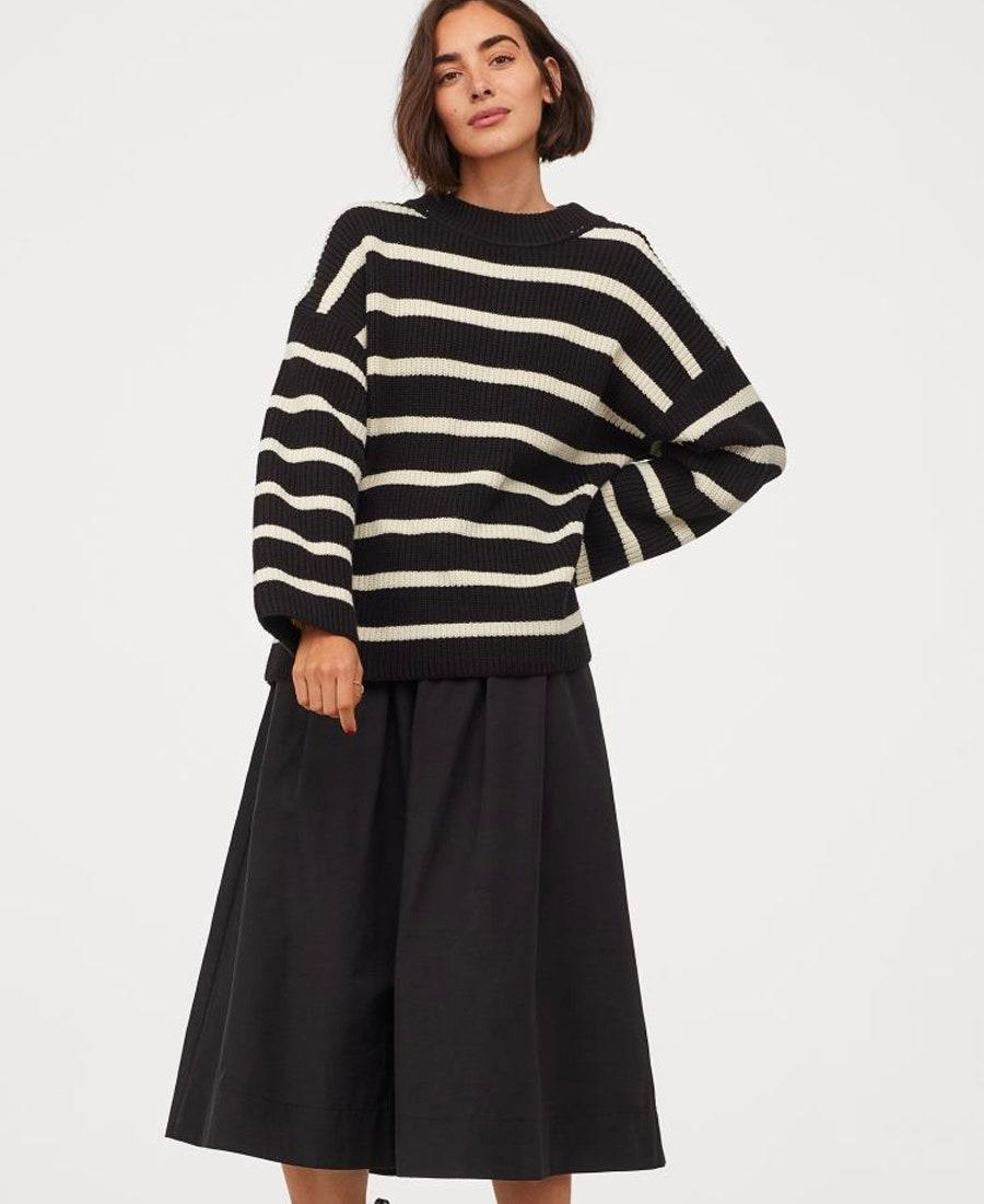 """Time to refresh your stack of striped sweaters. $25, H&M. <a href=""""https://www2.hm.com/en_us/productpage.0863583002.html"""" rel=""""nofollow noopener"""" target=""""_blank"""" data-ylk=""""slk:Get it now!"""" class=""""link rapid-noclick-resp"""">Get it now!</a>"""