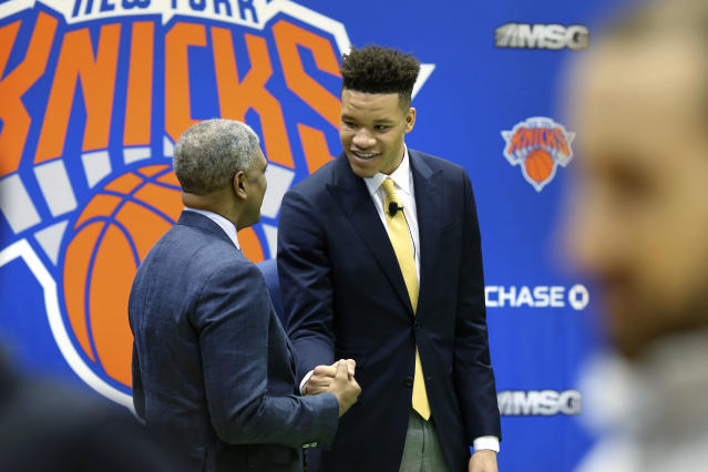 Kevin Knox, who was drafted No. 9 overall last month by the New York Knicks, has already impressed early at the Las Vegas Summer League. (AP Photo/Kevin Hagen)