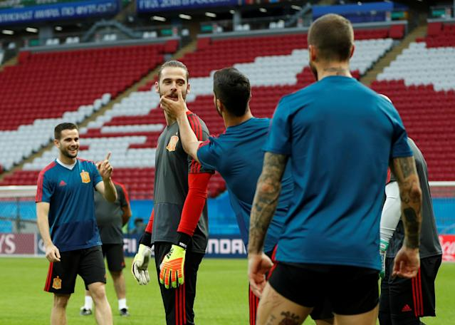 Soccer Football - World Cup - Spain Training - Kazan Arena, Kazan, Russia - June 19, 2018 Spain's David de Gea during training REUTERS/John Sibley