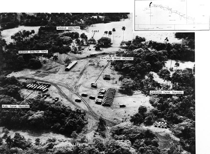An aerial reconnaissance photograph showing a missile launch site in San Cristobal, Cuba, in October 1962. (Photo: Bettmann Archive via Getty Images)