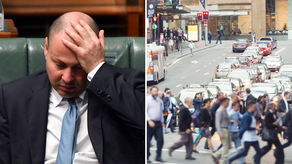 Treasurer Josh Frydenberg sits with his head in his hands, pedestrians cross the road in the Sydney CBD.