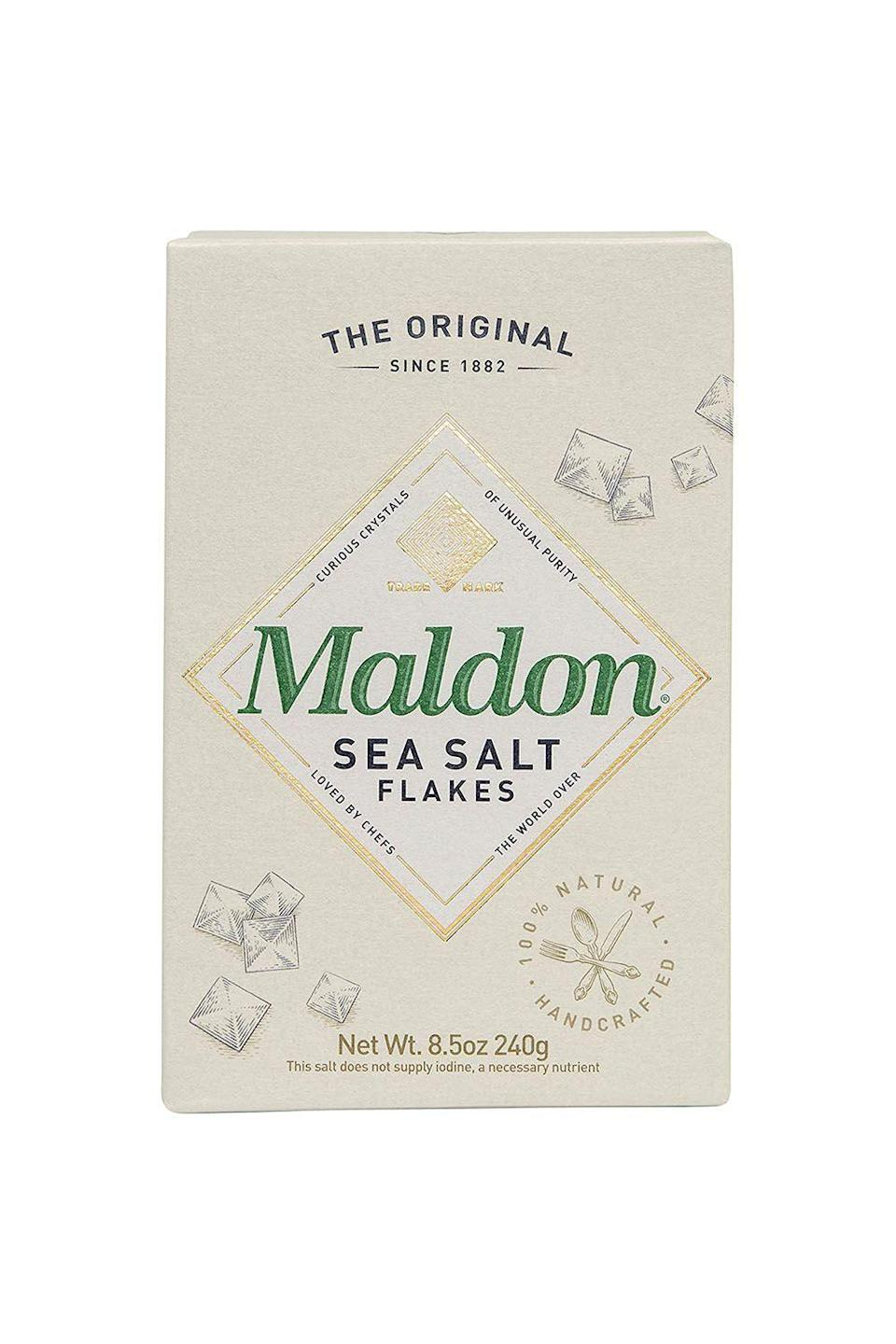 """<p><strong>Maldon</strong></p><p>amazon.com</p><p><strong>$8.44</strong></p><p><a href=""""https://www.amazon.com/dp/B00017028M?tag=syn-yahoo-20&ascsubtag=%5Bartid%7C10072.g.36429980%5Bsrc%7Cyahoo-us"""" rel=""""nofollow noopener"""" target=""""_blank"""" data-ylk=""""slk:Shop Now"""" class=""""link rapid-noclick-resp"""">Shop Now</a></p><p>If you're reading this article, chances are you've heard of Maldon. The nearly 140-year-old, family-owned brand—which harvests its giant pyramid-shaped flakes on the southeast coast of England—is not only one of the top salt brands in the world, but it's also a favorite of chefs, including six of the ones we spoke to. """"It's probably the most-used ingredient in my kitchen,"""" says <a href=""""https://www.instagram.com/hettymckinnon/?hl=en"""" rel=""""nofollow noopener"""" target=""""_blank"""" data-ylk=""""slk:Hetty McKinnon"""" class=""""link rapid-noclick-resp"""">Hetty McKinnon</a>, author of <em><a href=""""https://www.amazon.com/Asia-Love-Everyday-Recipes-Stories/dp/3791386832?tag=syn-yahoo-20&ascsubtag=%5Bartid%7C10072.g.36429980%5Bsrc%7Cyahoo-us"""" rel=""""nofollow noopener"""" target=""""_blank"""" data-ylk=""""slk:To Asia, With Love"""" class=""""link rapid-noclick-resp"""">To Asia, With Love</a>. </em>""""I keep a big canister of it on my countertop, because a hit of it really brings out the flavor in everything we cook."""" </p><p>Garten sprinkles a few flakes of Maldon on her freshly-baked pot pies; <a href=""""https://www.instagram.com/danimoreiracamia/?hl=en"""" rel=""""nofollow noopener"""" target=""""_blank"""" data-ylk=""""slk:Daniela Moreira"""" class=""""link rapid-noclick-resp"""">Daniela Moreira</a>, co-owner and executive chef of <a href=""""https://www.callyourmotherdeli.com/"""" rel=""""nofollow noopener"""" target=""""_blank"""" data-ylk=""""slk:Call Your Mother"""" class=""""link rapid-noclick-resp"""">Call Your Mother</a> in Washington D.C., incorporates it into the deli's everything bagel seasoning; and at New York City's <a href=""""https://www.bessou.nyc/"""" rel=""""nofollow noopener"""" target=""""_blank"""" data-ylk=""""slk:Bessou"""" class=""""link rapid-noclick-resp"""">Bessou</a"""