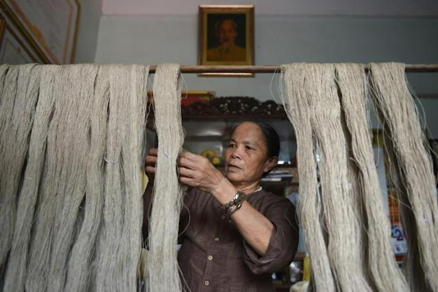 """The """"silk"""" is harvested from the fibrous pith in lotus stems, which would otherwise be left to rot in the field"""