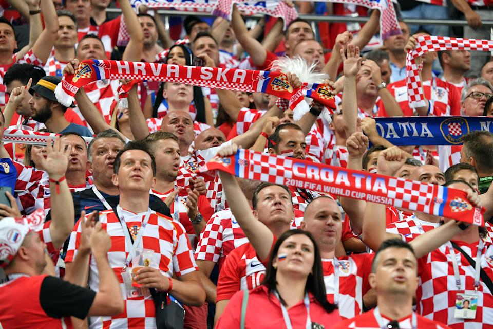 Fans cheer for Croatia team during the 2018 FIFA World Cup Russia Quarter Final match between Russia and Croatia at Fisht Stadium on July 7, 2018 in Sochi, Russia. (Getty Images)