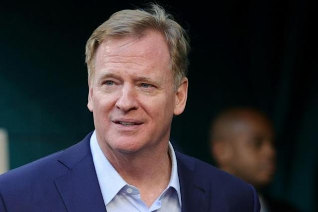 NFL commissioner Roger Goodell is encouraging teams to sign Colin Kaepernick and welcomes the former San Francisco 49ers quarterack's input on social programs funded by the league (AFP Photo/Maddie Meyer)