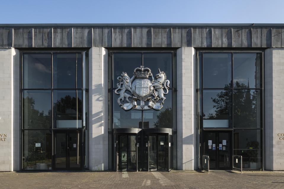 Main entrance, Crown and County Court, Much Park Street, Coventry, West Midlands, 2014. Exterior view from the north. (Photo by English Heritage/Heritage Images/Getty Images)