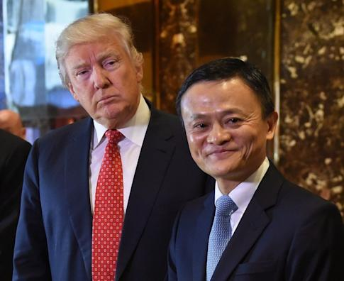 Jack Ma, founder and executive chairman of Alibaba Group, and President-elect Donald Trump after a January 9, 2017 meeting at Trump Tower in New York before the American president's inauguration. Photo: Agence France-Presse