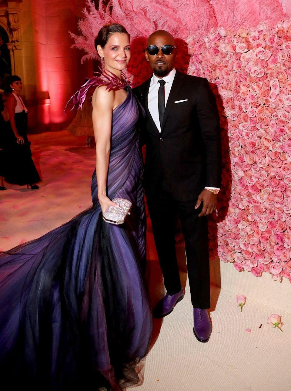 "<p>You won't get a peep out of Jamie Foxx when it comes to his relationship with Katie Holmes. The rumored couple were reportedly been an item since for six years—following her high-profile split with Tom Cruise. When an ESPN host questioned Foxx about Holmes during an NBA All-Star Weekend event in 2019, Foxx cut the <a href=""https://twitter.com/r0bato/status/964645295618494464"" rel=""nofollow noopener"" target=""_blank"" data-ylk=""slk:interview"" class=""link rapid-noclick-resp"">interview</a> short. While he couple made their red carpet debut at the <a href=""https://www.elle.com/culture/celebrities/a27390531/katie-holmes-jamie-foxx-met-gala-2019-pda-photos/"" rel=""nofollow noopener"" target=""_blank"" data-ylk=""slk:2019 Met Gala"" class=""link rapid-noclick-resp"">2019 Met Gala</a>, they <a href=""https://www.elle.com/culture/celebrities/a28751635/katie-holmes-jamie-foxx-breakup/"" rel=""nofollow noopener"" target=""_blank"" data-ylk=""slk:reportedly split"" class=""link rapid-noclick-resp"">reportedly split</a> shortly after. Sources gave conflicting accounts of <a href=""https://www.elle.com/culture/celebrities/a28770733/katie-holmes-jamie-foxx-breakup-reason/"" rel=""nofollow noopener"" target=""_blank"" data-ylk=""slk:the reason for their breakup"" class=""link rapid-noclick-resp"">the reason for their breakup</a>.</p>"