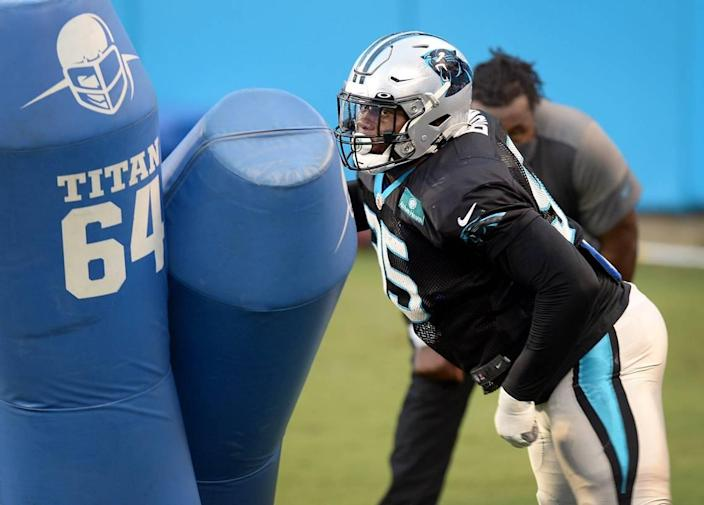 Carolina Panthers defensive tackle Derrick Brown hits the pads during practice at Bank of America Stadium on Wednesday, August 26, 2020.