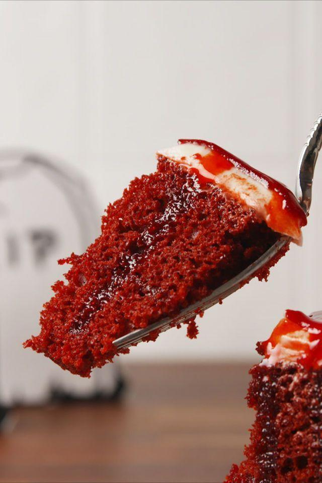 """<p>This red velvet cake with cream cheese frosting and fake edible """"blood"""" is to die for.</p><p><em><a href=""""https://www.delish.com/cooking/recipe-ideas/recipes/a55554/dead-velvet-cake-recipe/"""" rel=""""nofollow noopener"""" target=""""_blank"""" data-ylk=""""slk:Get the recipe from Delish »"""" class=""""link rapid-noclick-resp"""">Get the recipe from Delish »</a></em></p>"""