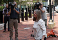 <p>Accountant Cindy Laporta arrives at the Alexandria Federal Courthouse, Monday, Aug. 6, 2018, in Alexandria, Va. to testify at President Donald Trump's former campaign chairman Paul Manafort's tax evasion and bank fraud trial. (Photo: Alex Brandon/AP) </p>