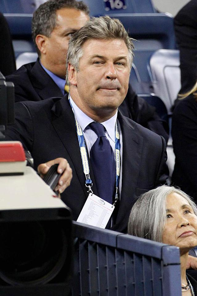 """Alec Baldwin takes a break from shooting """"30 Rock"""" to catch a match at the Billie Jean King Tennis Center in Flushing Meadows. Juan Soliz/<a href=""""http://www.pacificcoastnews.com/"""" target=""""new"""">PacificCoastNews.com</a> - September 3, 2009"""