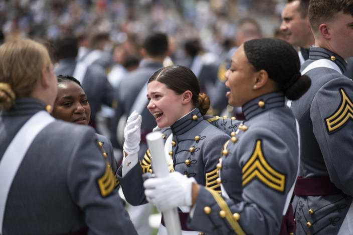 United States Military Academy graduating cadets celebrate at the end of their graduation ceremony of the U.S. Military Academy class 2021 at Michie Stadium on Saturday, May 22, 2021, in West Point, N.Y. (AP Photo/Eduardo Munoz Alvarez)