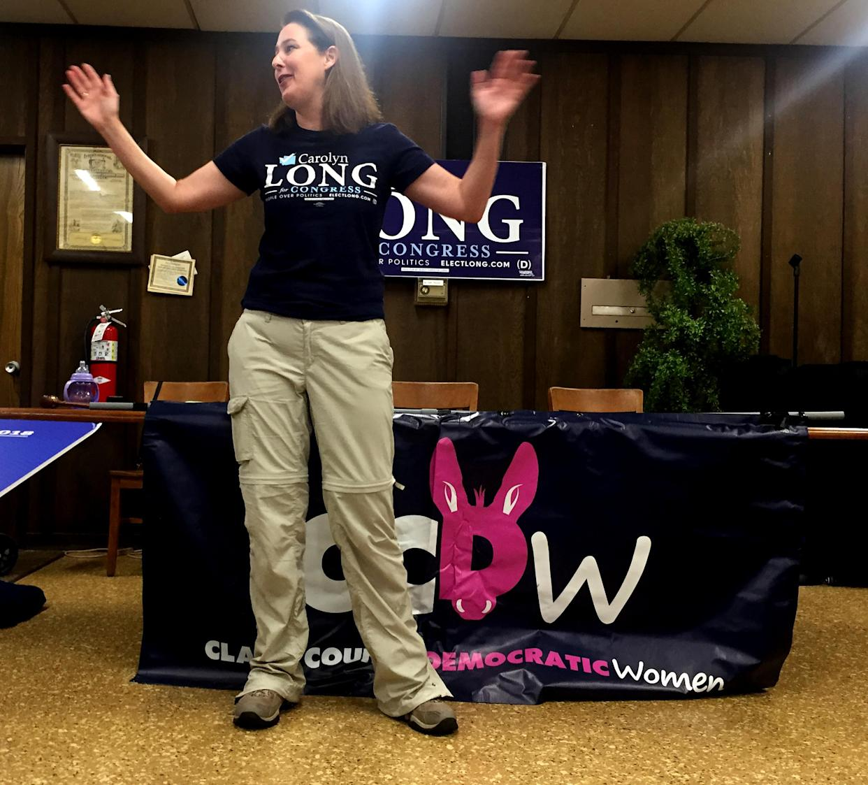 Democratic congressional candidate Carolyn Long speaks to supporters at the Labor Center in Vancouver, Wash., on Saturday. (Photo: David Knowles/Yahoo News)