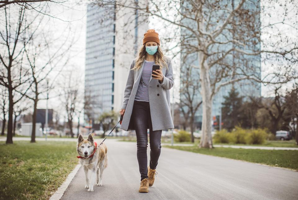 Woman during pandemic isolation walking with her dog in park and use mobile phone