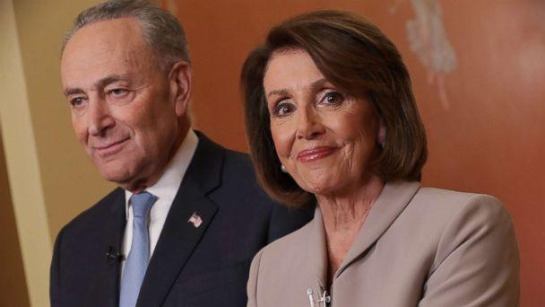 PHOTO: House Speaker Nancy Pelosi and Senate Minority Leader Chuck Schumer speak on Capitol Hill in response to President Donald Trump's prime-time address on border security, Jan. 8, 2019, in Washington. (Chip Somodevilla/Getty Images)