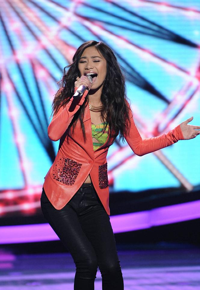 "Jessica Sanchez performs ""I'll Be There"" by The Jackson 5 on ""<a target=""_blank"" href=""http://tv.yahoo.com/american-idol/show/34934"">American Idol</a>."""