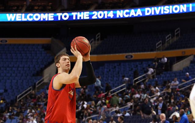 Dayton's Matt Kavanaugh shoots the ball during a practice for an upcoming second-round game against Ohio State in the men's NCAA college basketball tournament Wednesday, March 19, 2014, in Buffalo, N.Y. Dayton plays Ohio State Thursday, March 20, 2014. (AP Photo/Nick LoVerde)