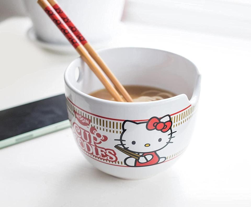 <p>The <span>Hello Kitty Cup Noodles Japanese Ceramic Dinnerware Set</span> ($26) is something the ramen lover in your life will obssess over. It includes a 20-ounce ramen bowl and matching chopsticks. It's also great for snacks!</p>