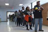 Long lines of voters, such as this one from election day in 2016 in Missouri, have become risky this year due to the coronavirus pandemic, with a surge in mail-in voting expected