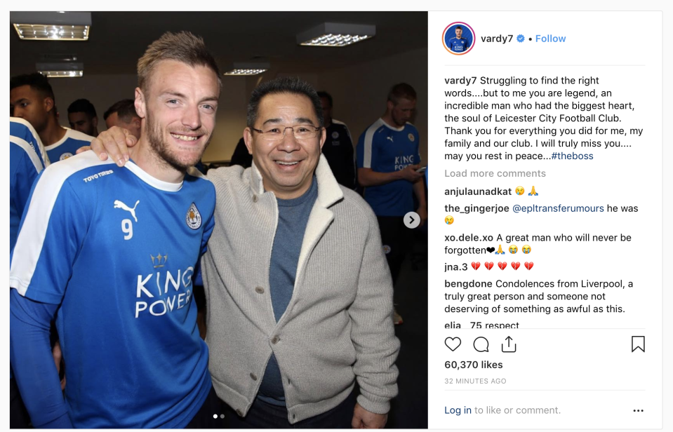 Jamie Vardy takes to social media to issue a tribute to the Leicester City owner