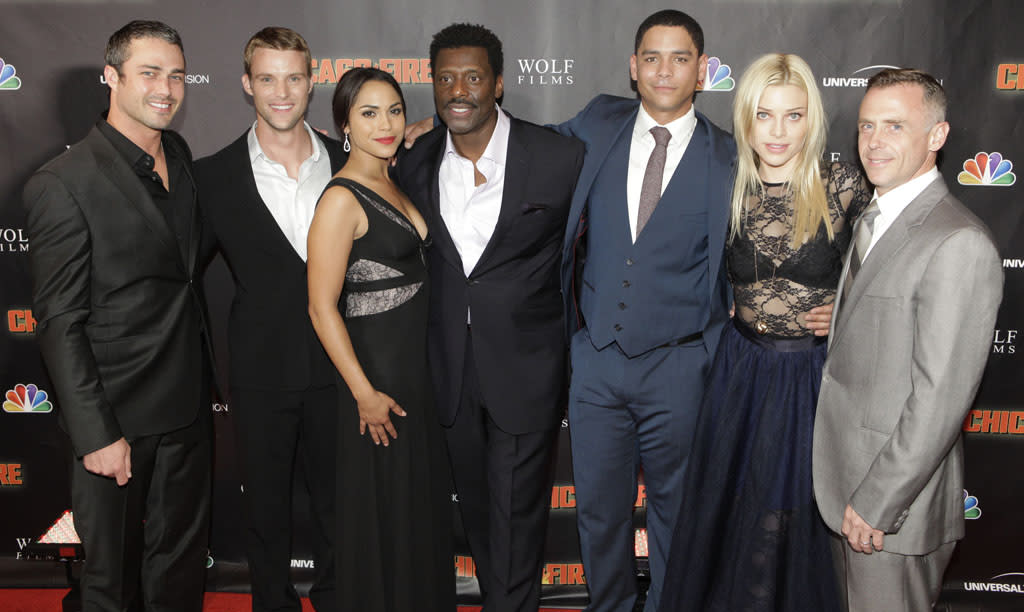 "Taylor Kinney, Jesse Spencer, Monica Raymund, Eamonn Walker, Charlie Barnett, Lauren German and David Eigenberg attend NBC's ""Chicago Fire"" premiere at the Chicago History Museum on October 2, 2012 in Chicago, Illinois."