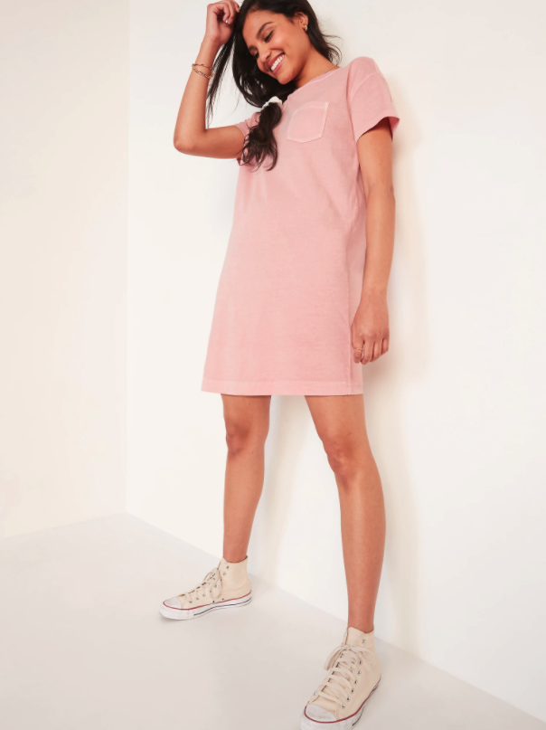 Vintage Garment-Dyed T-Shirt Shift Dress. Image via Old Navy.