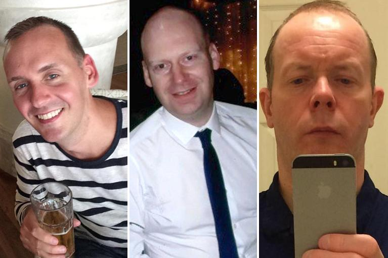 Joe Ritchie-Bennett, 39, James Furlong, 36 and David Wails are pictured.