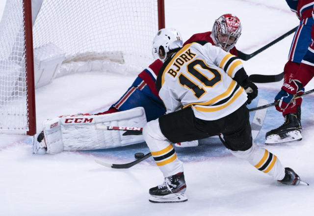 Boston Bruins' Anders Bjork scores past Montreal Canadiens goaltender Carey Price during the second period of an NHL hockey game Tuesday, Nov. 5, 2019, in Montreal. (Paul Chiasson/The Canadian Press via AP)