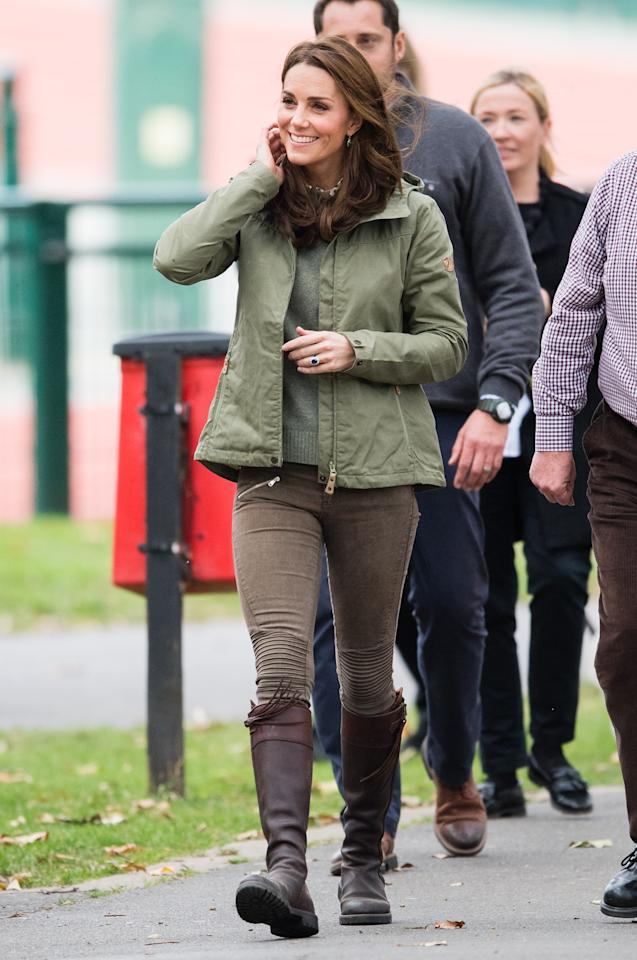 <p>The Duchess arrived for a day of outdoor fun wearing her tried and true pair of Penelope Chilvers boots. Middleton sported green skinny jeans from Zara and a khaki jacket by Swedish outdoor brand, Fjällräven, for a day of exploring. </p>