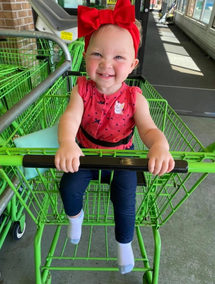 Linsey's daughter Emilyn sitting in a shopping trolley. Source: Jam Press