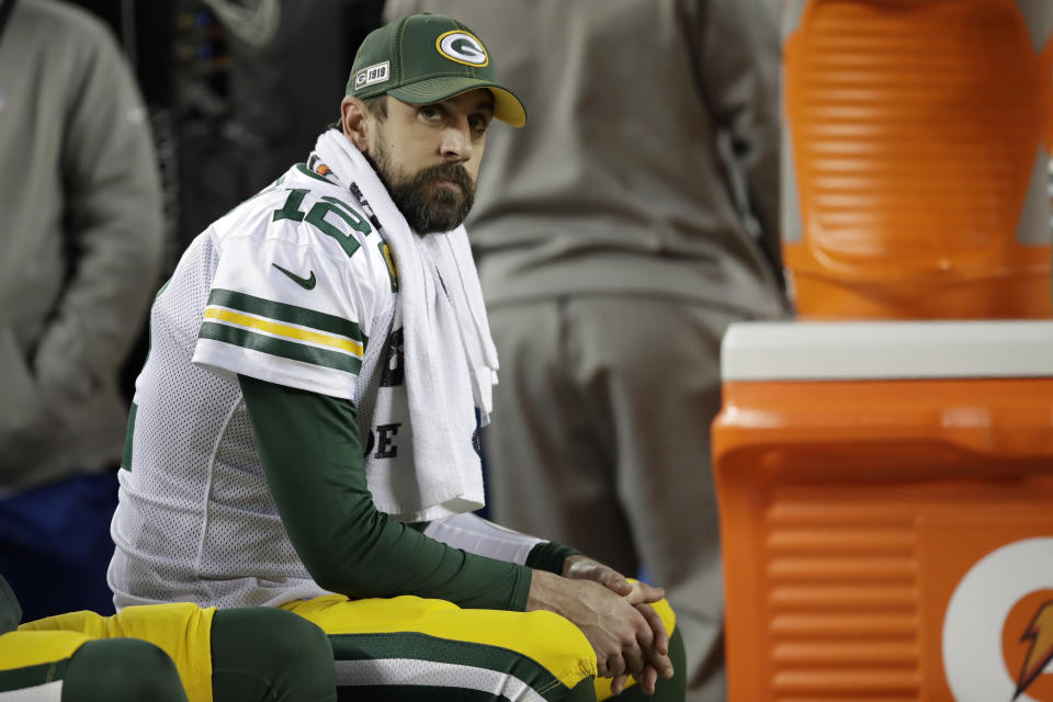 Aaron Rodgers probably isn't happy with the Packers' draft. (AP Photo/Ben Margot)