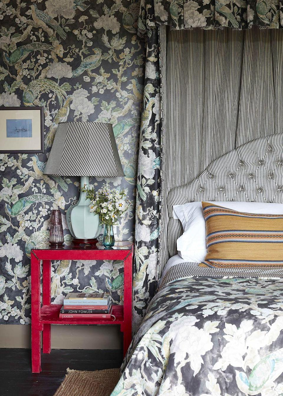 """<p>In the primary bedroom of <a href=""""https://www.veranda.com/decorating-ideas/house-tours/a33487562/richard-smith-english-manor-house-and-garden/"""" rel=""""nofollow noopener"""" target=""""_blank"""" data-ylk=""""slk:textile designer Richard Smith's English manor home"""" class=""""link rapid-noclick-resp"""">textile designer Richard Smith's English manor home</a>, the wallpaper was inspired by a Japanese screen, and the charcoal stripe is a handwoven linen silk fabric. (Both are <a href=""""https://www.madeaux.com/"""" rel=""""nofollow noopener"""" target=""""_blank"""" data-ylk=""""slk:Madeaux"""" class=""""link rapid-noclick-resp"""">Madeaux</a>.)</p>"""