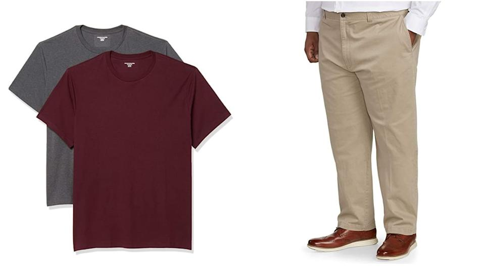 """<a href=""""https://amzn.to/2YAOkcn"""" target=""""_blank"""" rel=""""noopener noreferrer"""">Amazon Essentials by DXL</a> specializes in men's everyday essentials like T-shirts, pants and underwear. They offer sizes 2X to 7X, 44W to 60W, 28L to 34L, as well as tall and extended sizes. <br /><br />Shop this <a href=""""https://amzn.to/329tt0x"""" target=""""_blank"""" rel=""""noopener noreferrer"""">Amazon Essentials """"Big & Tall"""" two-pack of short-sleeved crewneck tees</a> (left) and this <a href=""""https://amzn.to/3j23OgW"""" target=""""_blank"""" rel=""""noopener noreferrer"""">Amazon Essentials """"Big & Tall"""" relaxed-fit stretch khaki pants</a>(right) on Amazon.<br /><br /><a href=""""https://amzn.to/2YAOkcn"""" target=""""_blank"""" rel=""""noopener noreferrer"""">Shop more from Amazon Essentials by DXL on Amazon</a>."""