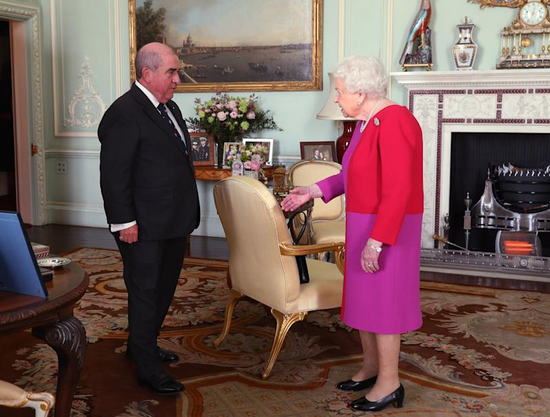 Queen Elizabeth II, Sovereign Head, the Most Venerable Order of the Hospital of St. John of Jerusalem, receives Professor Mark Compton, Lord Prior of the Order of St John, during an audience, where he presented Her Majesty with the Order's first ever Service Medal in Gold, at Buckingham Palace, London. PA Photo. Picture date: Wednesday March 11, 2019. Photo credit should read: Yui Mok/PA Wire