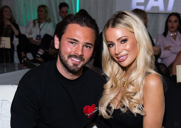 Olivia Attwood and her footballer fiance Bradley Dack. (Getty Images)