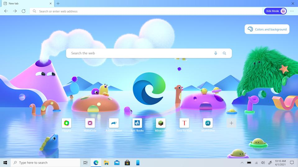 Microsoft Edge Kids Mode is designed to let kids browse the web safely, without forcing parents to deal with cumbersome parental control software. (Image: Microsoft)