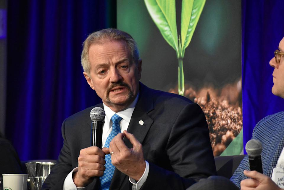 U.S. Bureau of Land Management Acting Director William Perry Pendley speaks at a conference in Fort Collins, Colorado, on Oct. 11, 2019. His nomination as director was withdrawn but he has remained in the job. (Photo: Matthew Brown/ASSOCIATED PRESS)