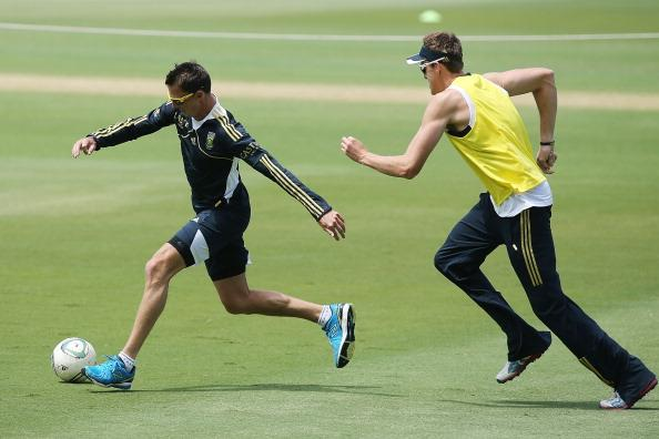 ADELAIDE, AUSTRALIA - NOVEMBER 19:  Dale Steyn (L) and Morne Morkel (R) of South Africa play a game of soccer during a South African Proteas training session at Adelaide Oval on November 19, 2012 in Adelaide, Australia.  (Photo by Morne de Klerk/Getty Images)