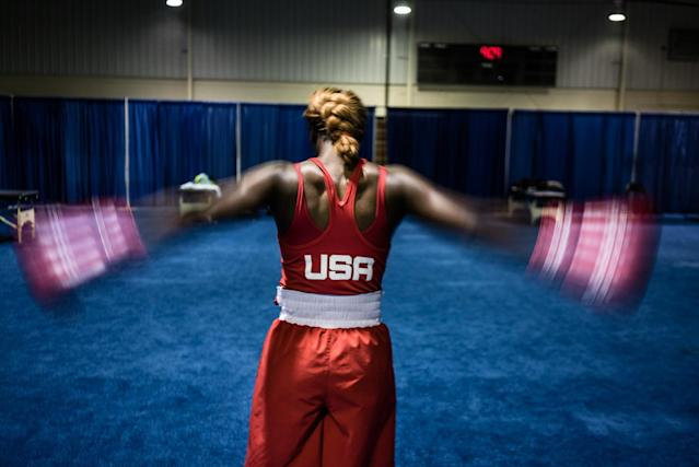 "<p>Olympic Gold Medalist Claressa ""T-Rex"" Shields warm up before fighting and eventually winning in the Gold Medal match at the 2015 Pan Am Games in Toronto, Canada, July 25, 2015. (Photograph by Zackary Canepari) </p>"