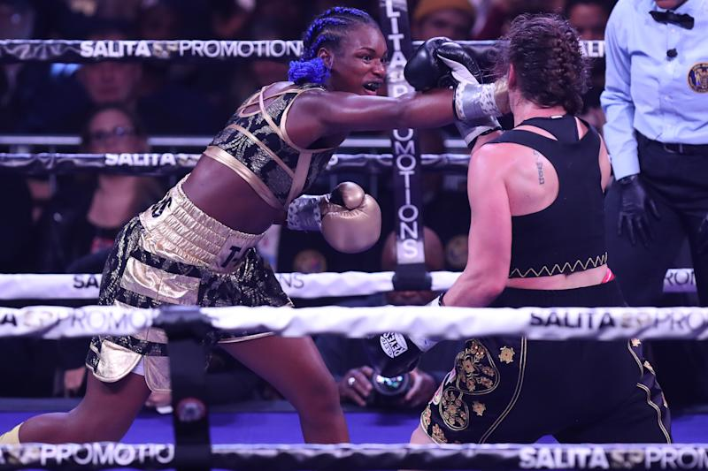 ATLANTIC CITY, NJ - JANUARY 10: Claressa Shields lands a right hand against Ivana Habazin during their fight on January 10, 2020 at Ocean Casino Resort in Atlantic City, New Jersey. (Photo by Edward Diller/Getty Images)