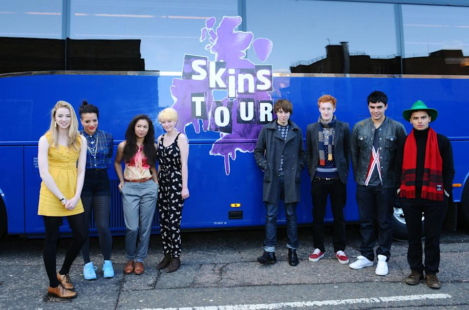 The third generation cast of E4 drama Skins (Left to right): Freya Mavor, Laya Lewis, Jessica Sula, Dakota Blue Richards, Alexander Arnold, Will Merrick, Sean Teale and Sebastian De Souza pictured before they leave for the Skins Tour from East London.   (Photo by Ian West/PA Images via Getty Images)
