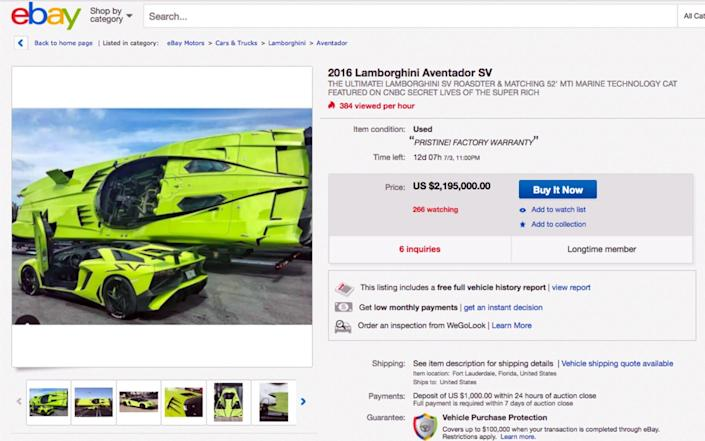 lime green Lamborghini Aventador SV Roadster and MTI Super Veloce speedboat for auction on Ebay - Caters News Agency