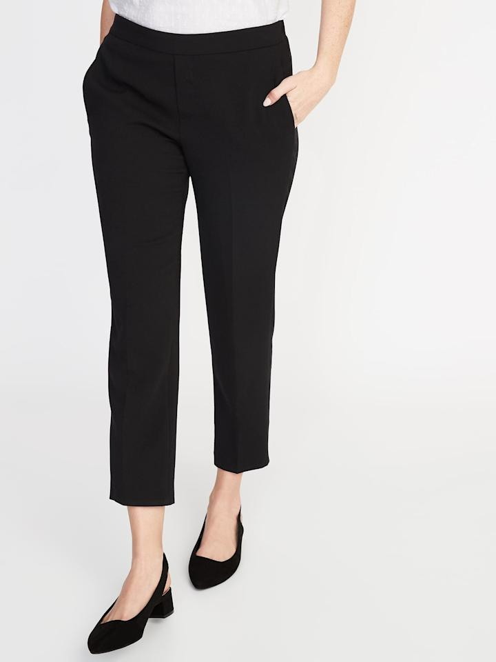 """<p>These <a href=""""https://www.popsugar.com/buy/Old-Navy-Mid-Rise-Pull--Straight-Pants-549004?p_name=Old%20Navy%20Mid-Rise%20Pull-On%20Straight%20Pants&retailer=oldnavy.gap.com&pid=549004&price=35&evar1=fab%3Aus&evar9=47218303&evar98=https%3A%2F%2Fwww.popsugar.com%2Ffashion%2Fphoto-gallery%2F47218303%2Fimage%2F47218343%2FOld-Navy-Mid-Rise-Pull-On-Straight-Pants&list1=shopping%2Cold%20navy%2Ceditors%20pick%2Cpants%2Cworkwear%2Cspring%20fashion%2Cfashion%20shopping&prop13=api&pdata=1"""" rel=""""nofollow"""" data-shoppable-link=""""1"""" target=""""_blank"""" class=""""ga-track"""" data-ga-category=""""Related"""" data-ga-label=""""https://oldnavy.gap.com/browse/product.do?pid=394202022&amp;cid=1061987&amp;pcid=5475&amp;vid=1&amp;grid=pds_10_20_1#pdp-page-content"""" data-ga-action=""""In-Line Links"""">Old Navy Mid-Rise Pull-On Straight Pants</a> ($35) are the pair that I own. Read on to check out the three other shades they come in.</p>"""