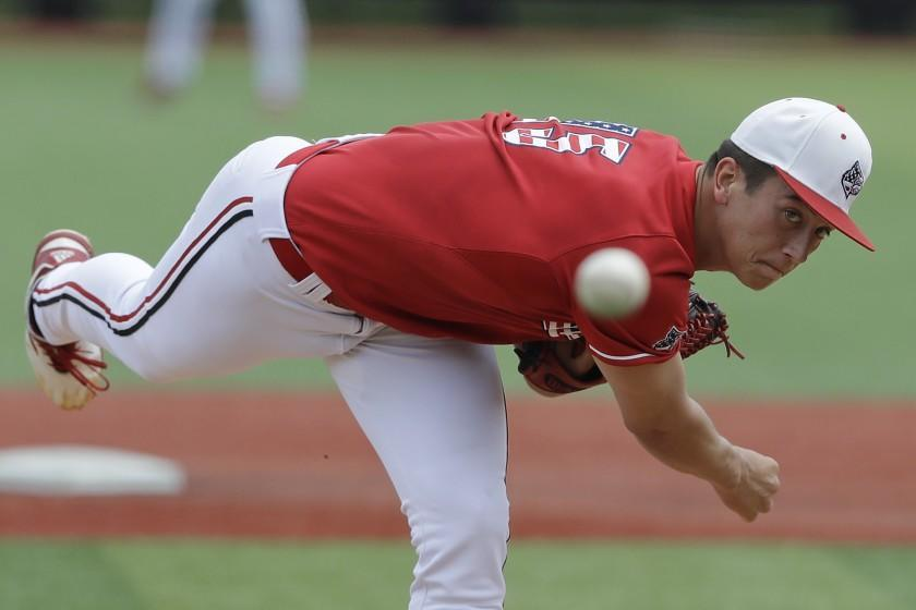 FILE - In this June 8, 2019, file photo, Louisville's Bobby Miller throws during the first inning against East Carolina in Game 2 at the NCAA college baseball super regional in Louisville, Ky. The Los Angeles Dodgers selected Miller in the baseball draft Wednesday, June 10, 2020. (AP Photo/Darron Cummings, File)
