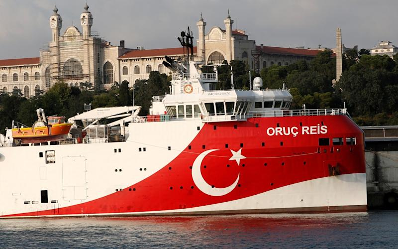 The Turkish survey vessel Oruc Reis, seen in Istanbul - Reuters