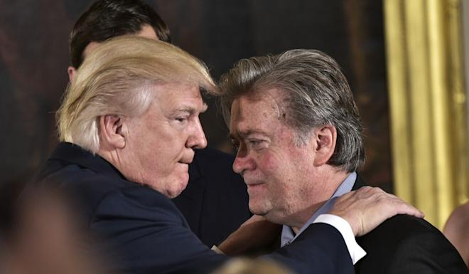 Donald Trump is seen with Bannon in January 2017. Photo: Getty Images via TNS