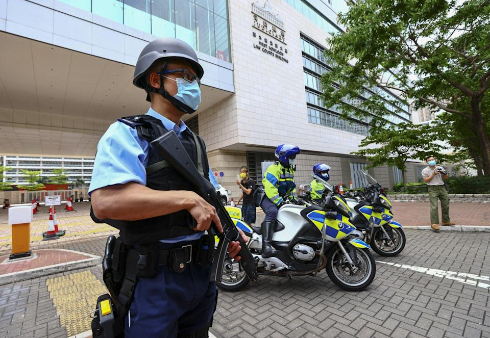 Heavy security in place for activist Andy Li's case. Photo: Dickson Lee