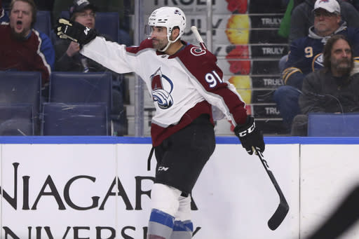 Colorado Avalanche forward Nazem Kadri celebrates his goal during the second period of the team's NHL hockey game against the Buffalo Sabres, Tuesday, Feb. 4, 2020, in Buffalo, N.Y. (AP Photo/Jeffrey T. Barnes)